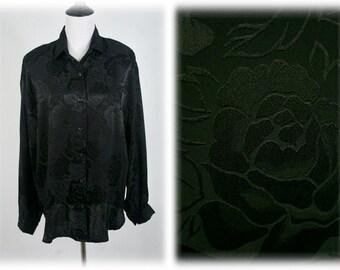 1980s Blouse Black Satin Oversized Blouse