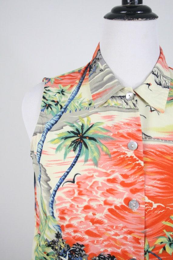 Vintage Aloha Blouse Clio Rayon Shirt Petite Large - image 4