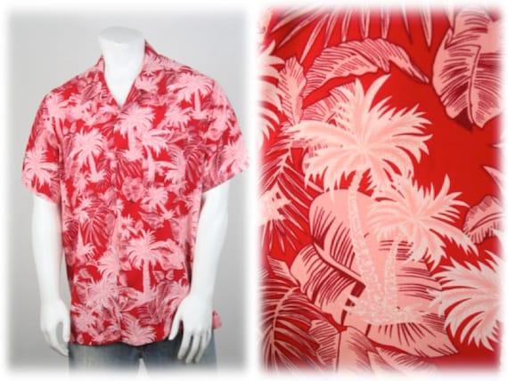 Vintage Aloha Shirt Red Rayon Shirt XL - image 1