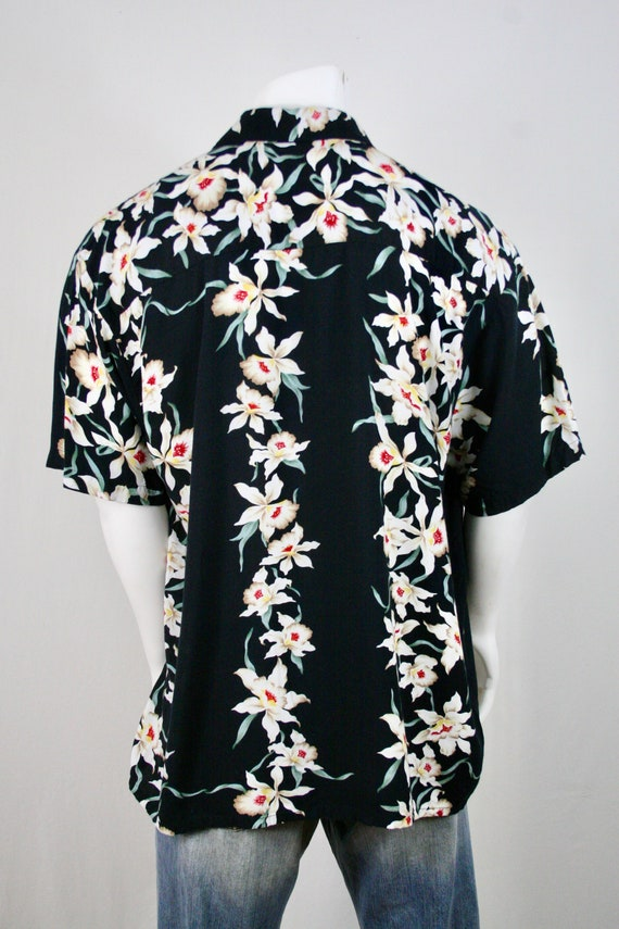 Vintage Aloha Shirt Rayon Orchid Print Shirt - image 6