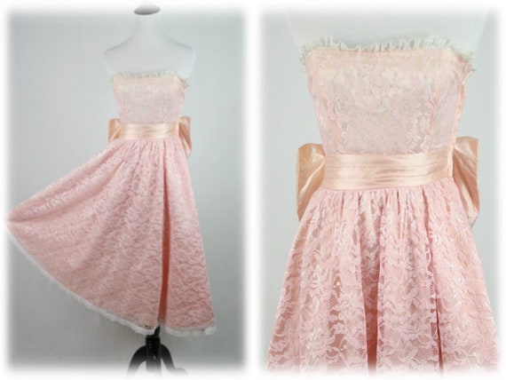 1980s Prom Dress Strapless Pink Lace Gunne Sax by