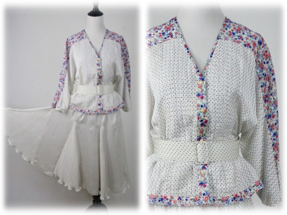 1980s Diane Freis Original Skirt Blouse Set