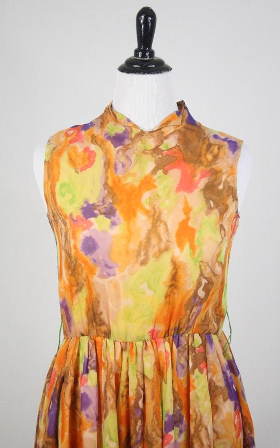 1970s Jumpsuit Silk Chiffon Palazzo Pants Waterco… - image 4
