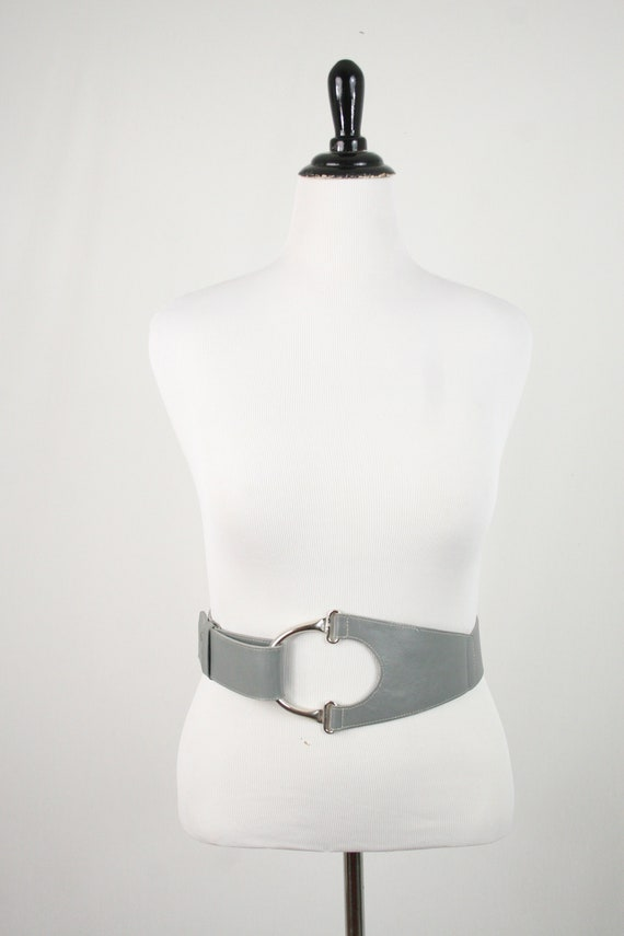 1980s Fiorucci Belt Gray Leather Wide Belt - image 2