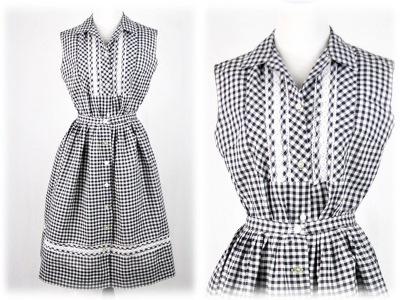 1950s Gingham Skirt Blouse Black White Dress