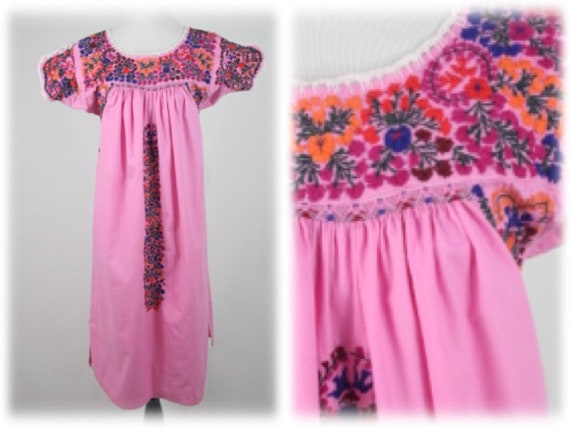 Vintage Dress Oaxacan Mexican Embroidered Pink Dre