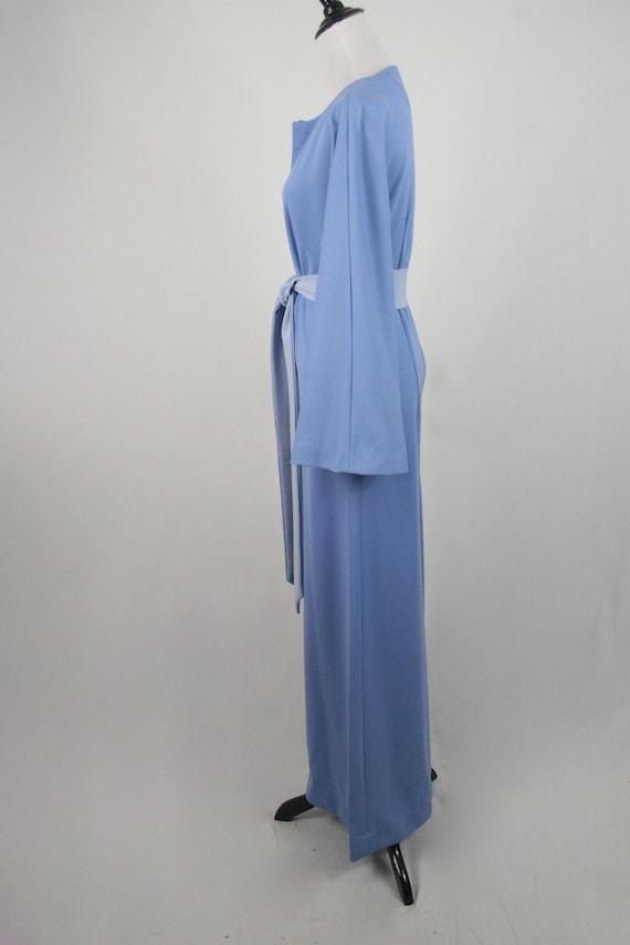 1970s Jumpsuit Blue Polyester Handmade Wide Leg J… - image 7