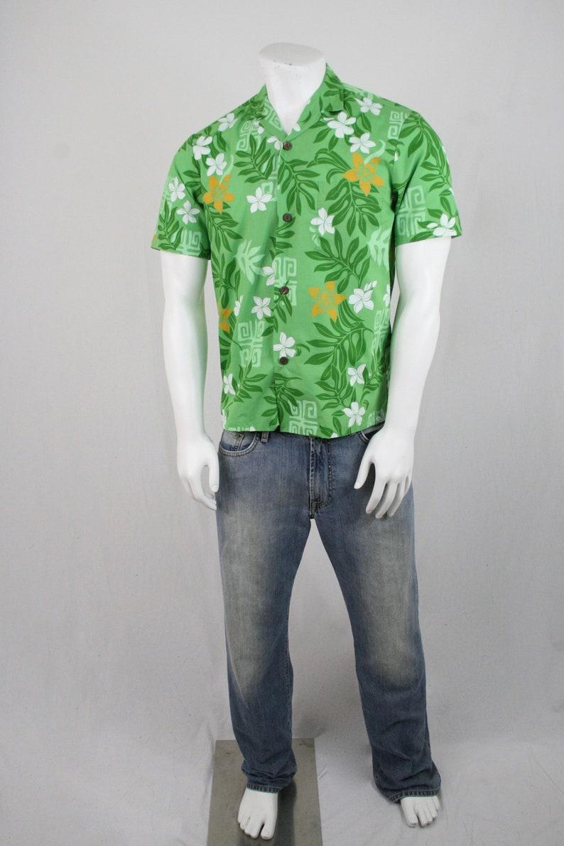 60a2f030 Vintage Hawaiian Shirt Green Aloha Shirt by Royal Creations   Etsy
