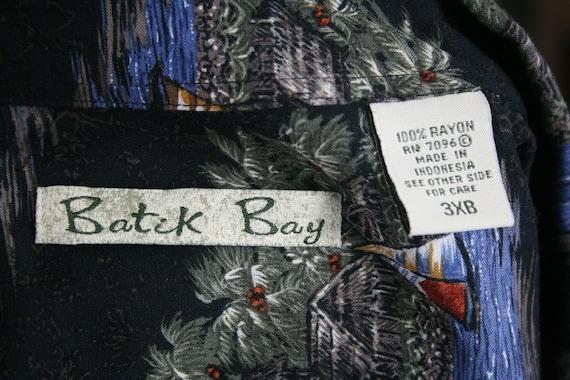 Vintage Aloha Shirt Rayon Batik Bay Shirt 3X - image 9