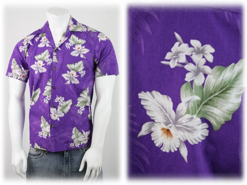 9a571b63 Vintage Purple with White Orchids Cotton Hawaiian Shirt by   Etsy