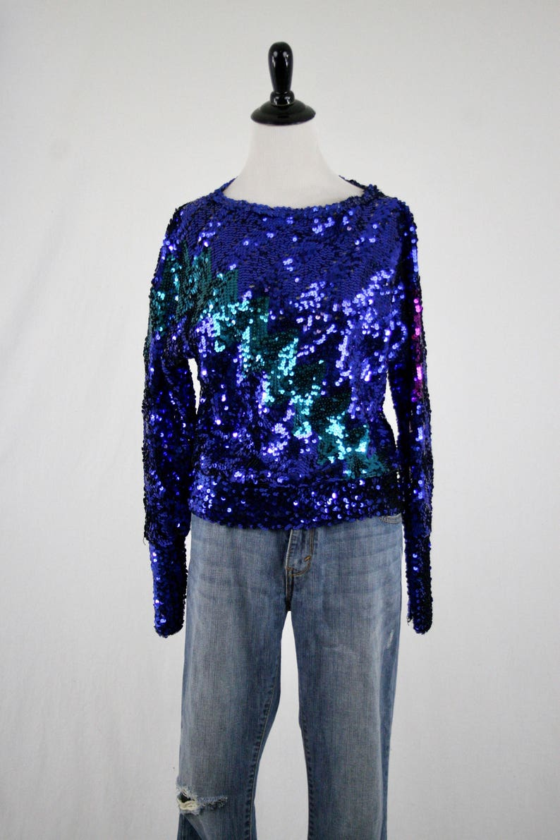 2d023b9b 1980s Mermaid Sequins Knit Top Large Cuffs by Harry Acton for | Etsy