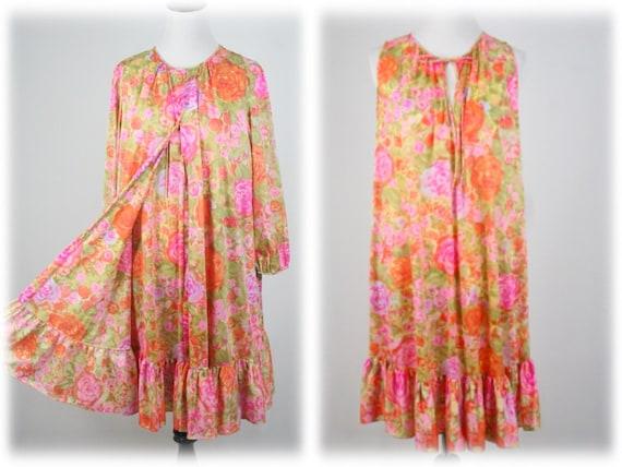 1960s Peignoir Set Rose Print Nylon Robe and Night