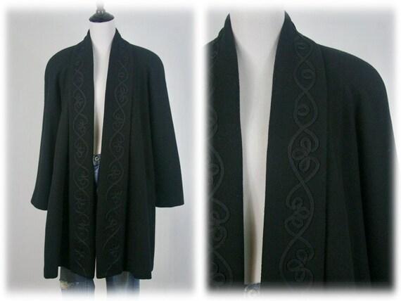 1980s Coat Black Wool by Jofeld Swing Coat
