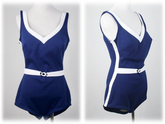1970s Swimsuit Belted Low Back Sears Swim Suit