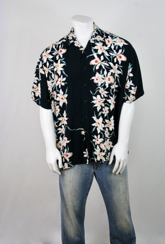 Vintage Aloha Shirt Rayon Orchid Print Shirt - image 3