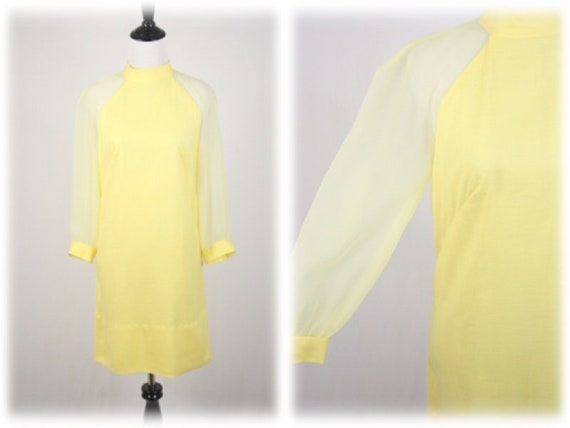 1960s Dress Yellow Sheer Sleeves Mini Dress