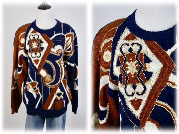 1990s Sweater Beaded Embroidered Oversized Pullove