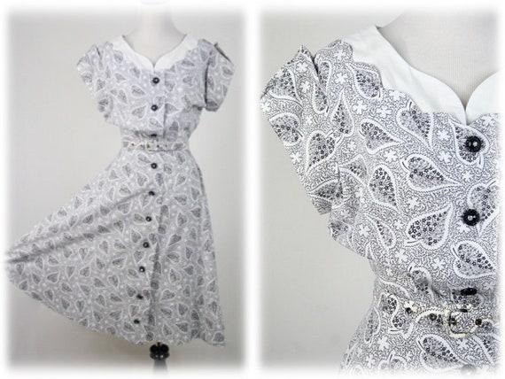 1950s Dress Black White Cotton Day Dress