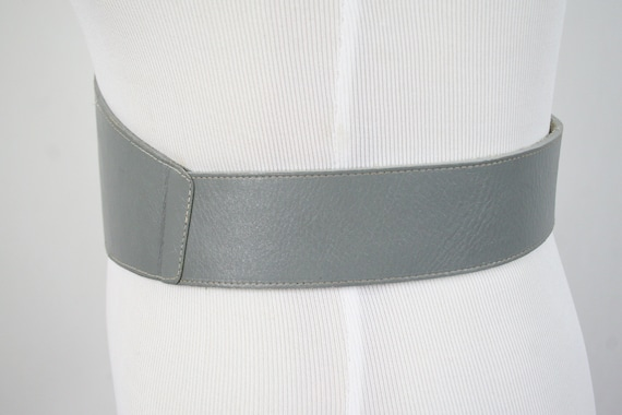 1980s Fiorucci Belt Gray Leather Wide Belt - image 6
