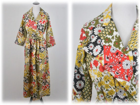 1970s Robe Long Wrap Patchwork Print Smart Time Ro