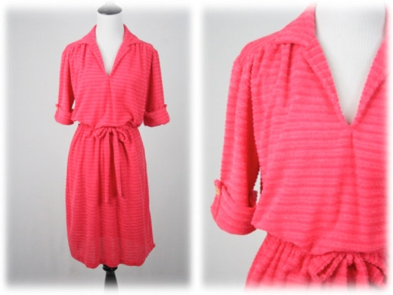 1970s Dress Ribbed Terry Cloth Dress