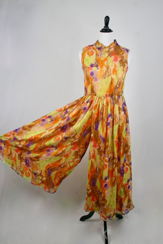 1970s Jumpsuit Silk Chiffon Palazzo Pants Waterco… - image 2