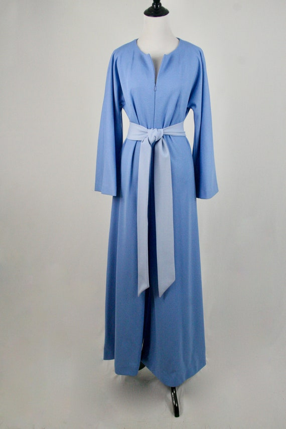 1970s Jumpsuit Blue Polyester Handmade Wide Leg J… - image 3