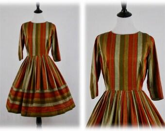 1950's Fall Colors Striped Shirtwaist Dress Full Skirt
