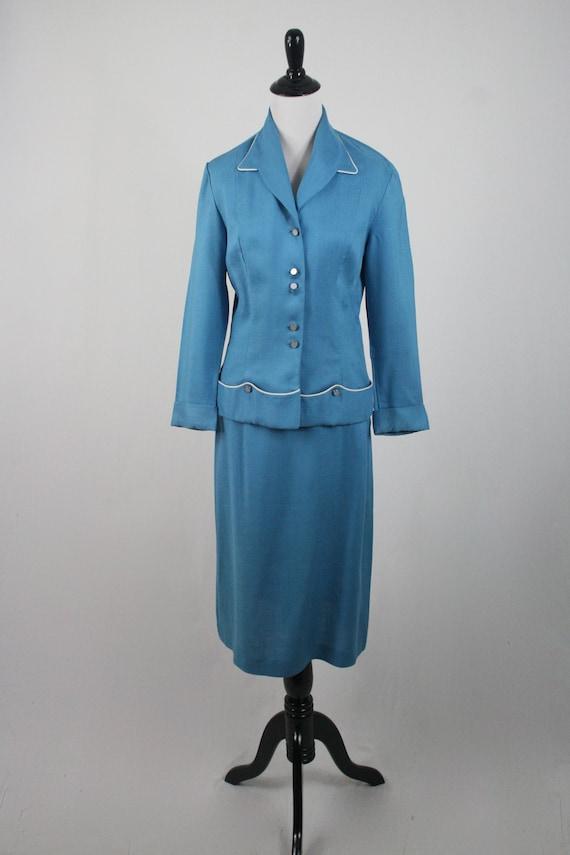 1950s Suit Blue Linen Skirt Suit - image 2