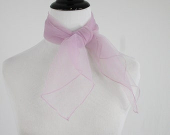 1960s Pale Lilac Sheer Nylon Chiffon Square Scarf Made in Japan