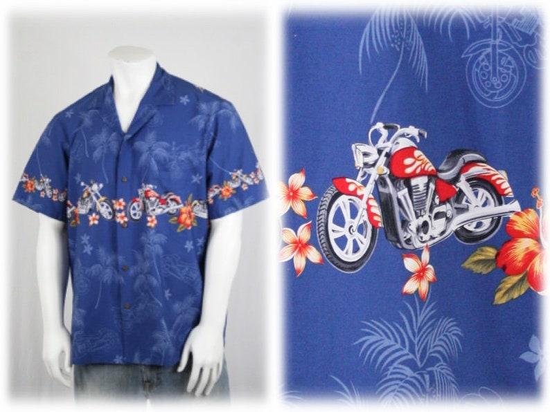 0398c6f2 Vintage Motorcycle Hawaiian Cotton Shirt Royal Creations XL   Etsy