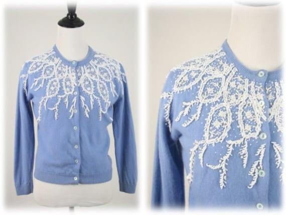 1950s 60s Sweater Beaded Cashmere Delft Blue Cardi