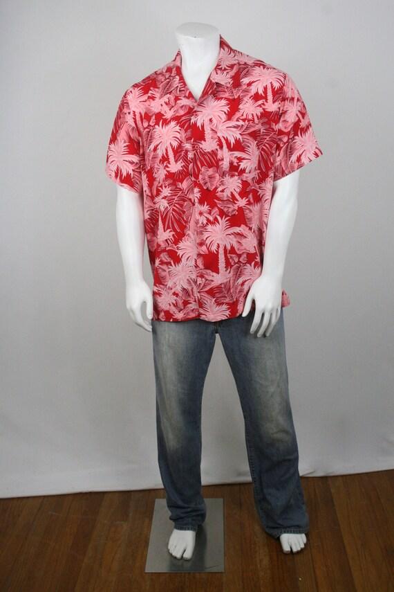 Vintage Aloha Shirt Red Rayon Shirt XL - image 2