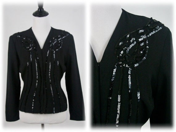 1940s Blouse Black Rayon Crepe Sequined Unlined Ja
