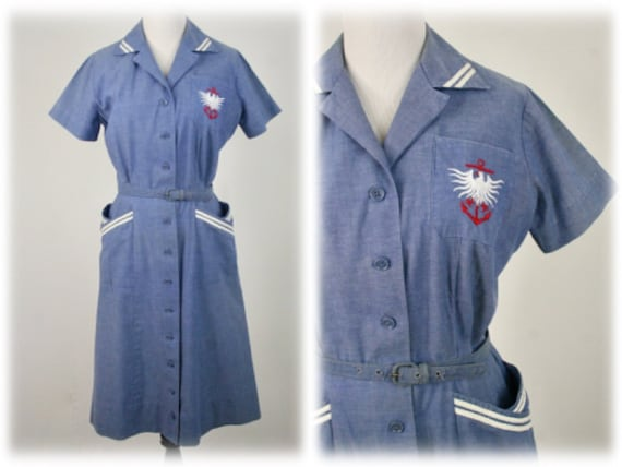 1950s Dress Cotton Chambray Sailor Dress by Sailin