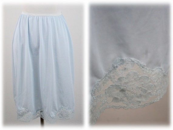 Vintage Baby Blue Nylon Half Slip by Lorraine Size Large  e6db96f80