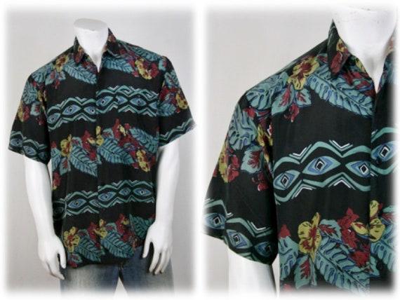 1990s Shirt Button Down Silk Tropical Print Large