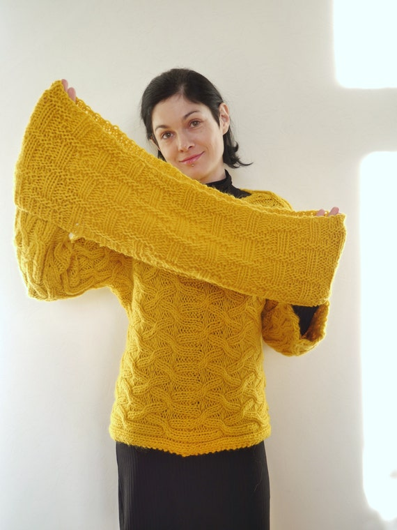 bb2aabcb6 Jumper Yellow Hand Knitted Sweater and Cowl Infinity Scarf