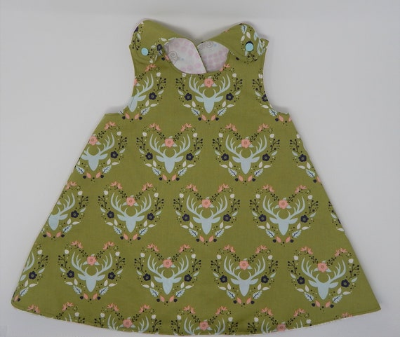 a2dc1124bc2 Deer Floral Green  Pink Reversible Tunic Top Dress 4T 5T