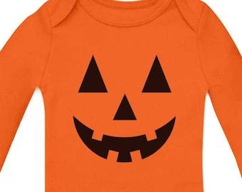 31c5de08a Cute Little Pumpkin - Halloween Infant Jack O' Lantern Baby Long Sleeve  Bodysuit