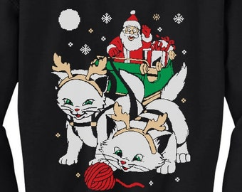 Cats Santa Ride Kittens Ugly Christmas Toddler Crewneck Sweatshirt