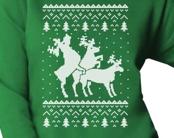 Ugly Christmas Party Sweater Humping Reindeer Women's Crewneck Sweatshirt