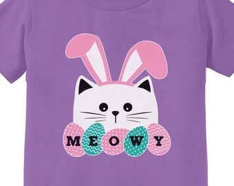 Meowy Easter Cat With Bunny Ears Toddler Short Sleeve T-Shirt