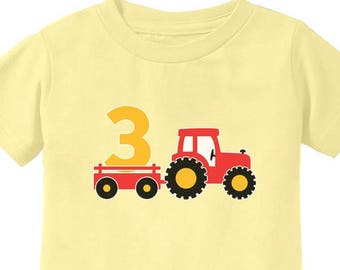3rd Birthday Gift Construction Party 3 Year Old Boy Toddler Kids T Shirt