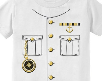 Ship Captain Halloween Costume Toddler Short Sleeve T-Shirt