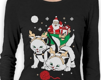 Cats Santa Ride Kittens Ugly Christmas Women's Long Sleeve T-Shirt