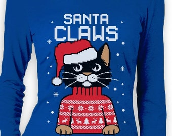Santa Claws Cat Funny Ugly Christmas Sweater Women's Long Sleeve T-Shirt