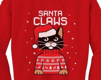fa081f8c4e705a Santa Claws Cat Funny Ugly Christmas Sweater Toddler Crewneck Sweatshirt