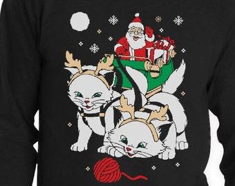 Cats Santa Ride Kittens Ugly Christmas Men's Long Sleeve T-Shirt