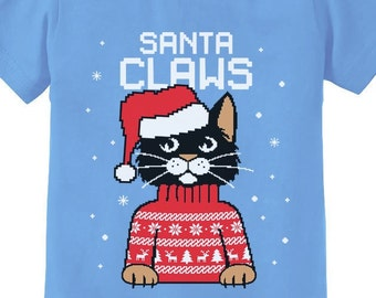 c3821d2b43af43 Santa Claws Cat Funny Ugly Christmas Sweater Short Sleeve Toddler-Infant T- Shirt
